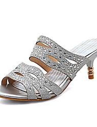 Women's Sandals Spring Summer Fall Club Shoes Glitter Customized Materials Wedding Party & Evening Dress Jewelry Heel Sequin Sparkling Glitter