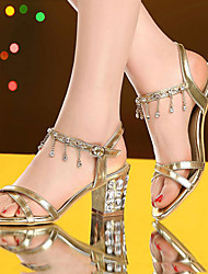 Sandals Summer Club Shoes Patent Leather Dress Low Heel Rhinestone Gold