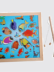 Wooden Magnetic Fishing Toy Educational Toy Leisure Hobby Toys Novelty Fish Wood Blue For Boys For Girls