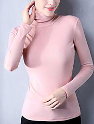 Tee-shirt Femme,Mosaïque Décontracté / Quotidien Grandes Tailles Sortie simple Chic de Rue Printemps Automne Manches Longues Col Roulé
