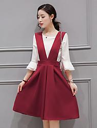 2017 spring new Korean women loose chiffon strap dress in stylish two-piece dress