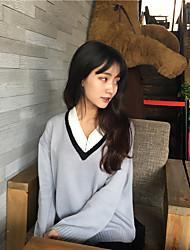 Zeichen Frühjahr neue V-Pullover weiblichen Studenten