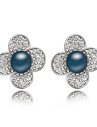 Stud Earrings Pearl Pearl Alloy Natural Flower White Black Dark Blue Gray Copper Jewelry Daily 1 pair