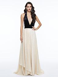 TS Couture Evento Formal Vestido - Costas Lindas Estilo Celebridade Linha A Decote V Longo Renda com Miçangas Laço(s) Pregas