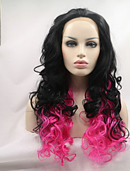 Sylvia Synthetic Lace front Wig Natural Black To Pink Curly Heat Resistant Ombre Synthetic Wigs
