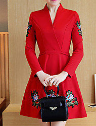 Plus Size Casual/Daily Party Simple Cute Chinoiserie A Line Dress,Embroidered Sweetheart Above Knee Long Sleeve OthersBlue Red
