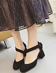 saltos primavera sapatos clube de lã vestido robusto calcanhar fivela