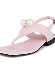 Sandals Spring Summer Fall Other Light Soles Leatherette Casual Low Heel Imitation Pearl Pink White