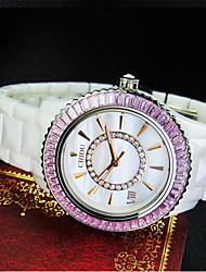 Couple's Fashion Watch Quartz Ceramic Band Casual White Pink