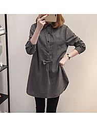 подписать весной 2017 новый большой размер жира мм ретро полосатый рубашки и длинные участки