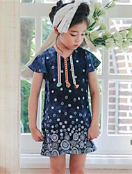 Girl's Beach Sports Print Dress,Cotton Summer Short Sleeve