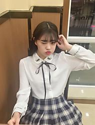 mulheres&# 39; s nova primavera fã coreano Xiaoqing nova camisa de colarinho gato dos desenhos animados camisa bordada estudante