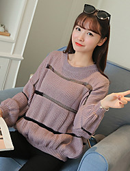 Sign fall and winter new Korean long-sleeved sweater female student hedging sweater loose striped shirt tide