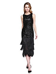 LAN TING BRIDE Sheath / Column Mother of the Bride Dress - Sparkle & Shine Tea-length Sleeveless Sequined with Sequins Tassel(s)