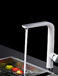 Contemporary Standard Spout Vessel Widespread with  Ceramic Valve Single Handle One Hole for  Chrome  Imitation porcelain Kitchen faucet