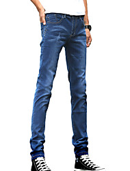 Men's Slim Jeans PantsCasual/Daily Simple Solid Mid Rise Button Cotton Polyester Micro-elastic All Seasons DG-2087