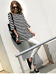 die neueste europäische und amerikanische Art und Weise war dünn lose lässig und bequem ein förmigen Streifen lange T-Shirt