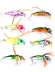 8 Pcs Hard Bee Fishing Lures 4.5cm/3.6g With Wing Fishing Tackle 3D Eyes Bait 6# Treble Hooks Lure