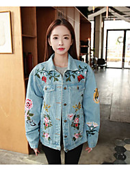 Spot real shot full 2017 spring new loose denim jacket embroidered flowers Bee Couple