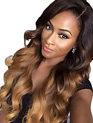 due toni ombre T1b merletto dei capelli umani / 27 # colore parrucche allentate dei capelli dell'onda 180% di densità vergini brasiliane