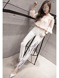signent 2017 printemps nouvelle impression de mode Jeans Slim pieds pantalon crayon étaient des femmes minces