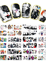 1pcs 12design Fashion Girl Decoration Nail Art Sticker DIY Full Cover Water Transfer Decals Nail Beauty BN253-264