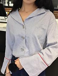 firmar elegante de la solapa de la manga del altavoz de rayas camisa suelta