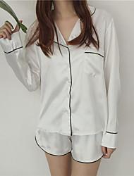 реальный выстрел! Ханго Чун установлены новые подружки полосатой отворота кнопки Tracksuit брюки два набора пижамы