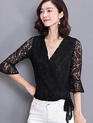 рубашку с длинными рукавами женщин корейской ярдов был тонкий v-образный вырез труба рукав короткий пункт кружева рубашки небольшой