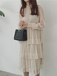 Real shot! 17 spring ladies stand collar cake layers wave point lace flounced skirt dress bottoming