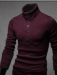 Normal Cardigan Homme Décontracté / Quotidien simple,Couleur Pleine Rouge Noir Gris Mao Manches Longues Coton Polyester Printemps Automne