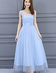 Ankle-length Satin Tulle Convertible Dress Elegant Bridesmaid Dress - A-line Straps with Flower(s)