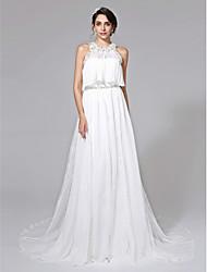 LAN TING BRIDE A-line Wedding Dress - Elegant & Luxurious Two-Piece Chapel Train Strapless Chiffon Lace with Beading Draped Sash / Ribbon