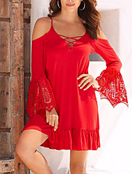 Women's Casual/Daily Club Sexy Simple Sheath DressPatchwork Lace Backless Off-The-Shoulder Strap Mini Long Sleeve Flare Sleeve