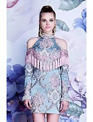ivivian Расширенные настройки asilio же пункта китайский су романтично бисерной вышивки жаккарда платье А.З.