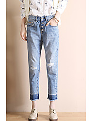 Sign 2017 light blue button-hole jeans female Harlan spring models small straight nine collapse loose