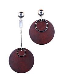 Fashion Style Long Wooden Asymmetric Simple Earrings