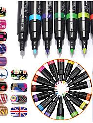 16pcs 3d unhas traços de caneta de pintura