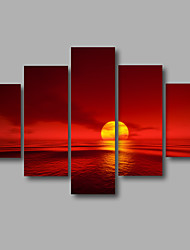 Stretched Canvas Print Four Panels Canvas Wall Decor Home Decoration Abstract Modern Sea Flamed Sunrise