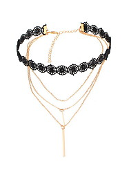 Necklace Non Stone Choker Necklaces Jewelry Daily Casual Euramerican Fashion Personalized Alloy Lace 1pc Gift Black Yellow Gold