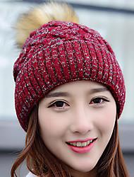 mulheres esticar diamante cor sólida além de tricô de lã cashmere malha chapéu de inverno ao ar livre