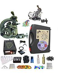 Kit completo per tatuaggi 1 x macchina in acciaio per linee e ombre 1 x tatuaggio macchina in lega per il rivestimento e l'ombreggiatura 2