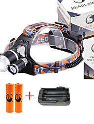U'King® ZQ-G808USBS#1-EU 3 * CREE XML-T6 6000LM 4Mode Zoomable Headlamp Kit Micro USB Charging Version