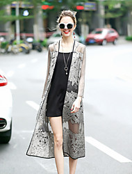 REVIENNE BAY Women's Embroidery Going out Cute Street chic Spring Summer Cloak/CapesSolid Shawl Lapel Long Sleeve Long Silk