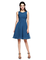 A-Line Jewel Neck Knee Length Chiffon Bridesmaid Dress with Criss Cross by LAN TING BRIDE®