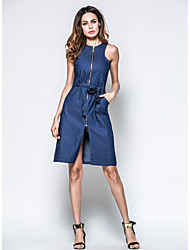 Women Casual/Daily Denim Dress,Solid Round Neck Above Knee Sleeveless Denim All Seasons Summer High Rise Inelastic Medium