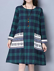 Casual/Daily Simple Loose Dress,Solid Print Round Neck Above Knee Long Sleeve Cotton Green Spring Mid Rise Inelastic