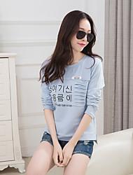 mola sinal cartas novas mulheres coreanas magro de mangas compridas impressa decoração de bolso grandes estaleiros t-shirt