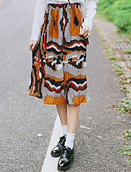 Swing Geometric Pleated Skirts,Going out Casual/Daily Cute Chinoiserie Mid Rise Midi Elasticity Cotton Inelastic All Seasons