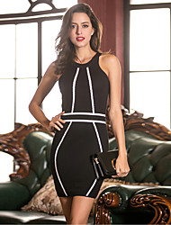 Women's Formal Party/Cocktail Club Sexy Bodycon Sheath Dress,Striped Round Neck Mini Sleeveless Others Black All Seasons High Rise